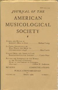 Journal of the American Musicological Society. Spring 1989.