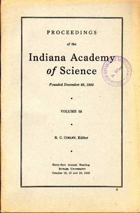 Proceedings of the Indiana Academy of Science vol 55 (1945). In 8vo, original wrappers, pp. xxiv+217. Ex Library stamp on first wrapper and title page. Fine copy