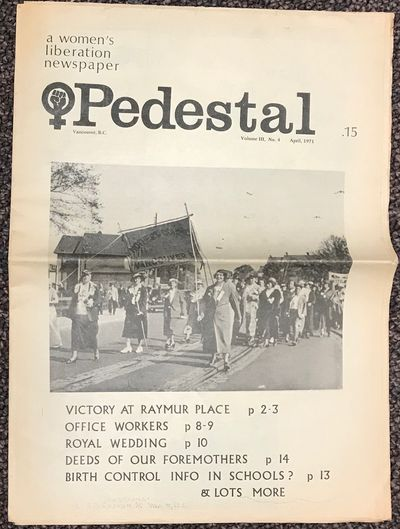 Vancouver: Pedestal Collective, 1971. Newspaper. 16p., folded tabloid newspaper, articles, calendar ...