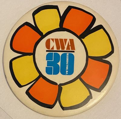 Washington DC: CWA, 1977. Large, 4-inch diameter pin for the 30th anniversary of the union.