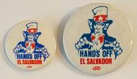 image of Hands off El Salvador [two pinback buttons with similar design; one from the SWP, the other from ISO]