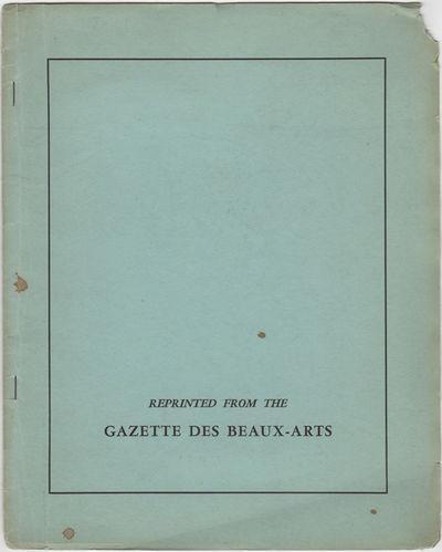 Gazette des Beaux Art, 1943. Reprint. Stapled paper wrappers. A good copy chips to the corners of wr...