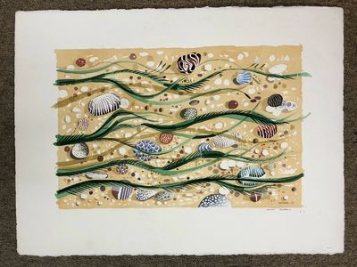 2003. A gouache painting on deckle edge white cotton rag paper; landscape orientation; signed and da...