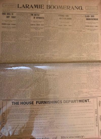 Laramie, Wyoming: Laramie Boomerang, 1903. First Edition. Newspaper. Fair. Newspapers. Two issues. 4...