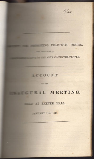 London: Pr. by Chapman, . 8vo. 32 pp. The list of committee members bears contemporary inked manuscr...