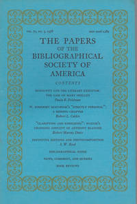 THE PAPERS OF THE BIBLIOGRAPHICAL SOCIETY OF AMERICA. Volume Seventy-Two, Third Quarter, 1978.