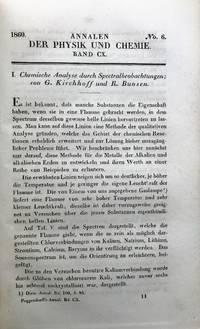 Chemische Analyse durch Spectralbeobachtungen. Contained in: Annalen der Physik und Chemie, Vol. 110, No. 6, pp. 161-189, 1860.
