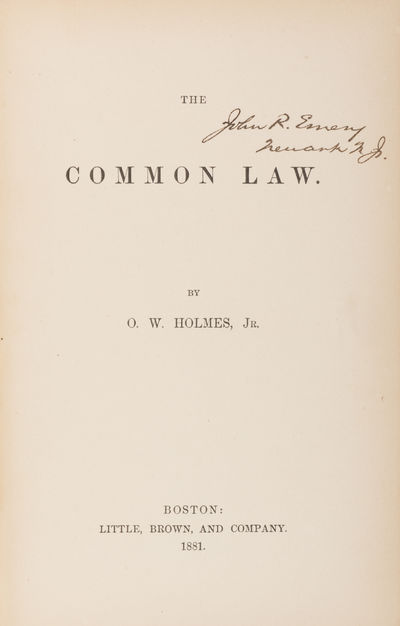 The Common Law, First Edition,...