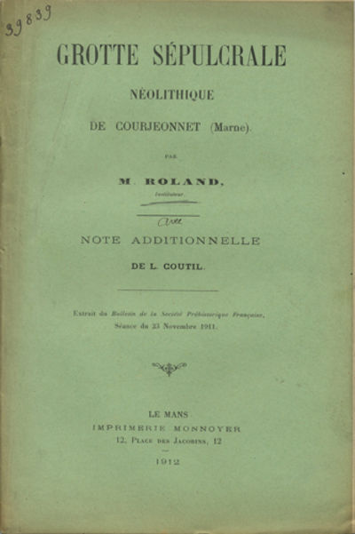 Le Mans, France: Imprimerie Monnoyer, 1912. Offprint. Paper wrappers. A very good copy with light so...