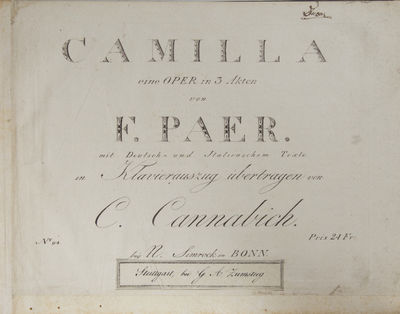 Bonn: N. Simrock , 1799. Oblong folio. Decorative paper boards with dark green morocco title label g...