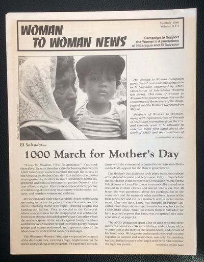 Oakland: Campaign to Support the Women's Associations of Nicaragua and El Salvador, 1986. 6p., 8.5x1...