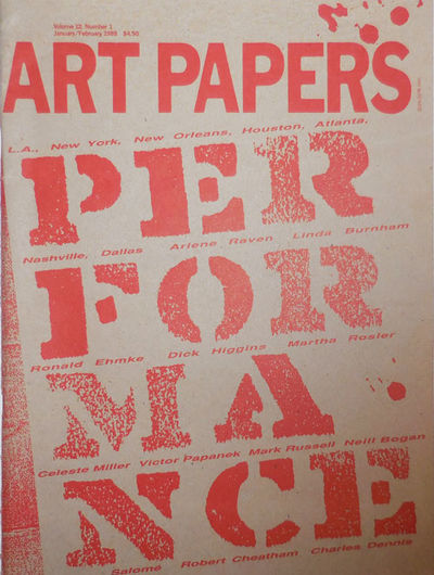 Atlanta: Art Papers, 1988. First edition. Paperback. Very Good. Overly tall (over 13