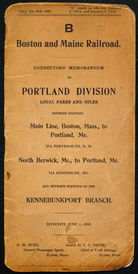 B Boston and Maine Railroad, Conductor's Memorandum of Portland Division Local Fares and Miles...