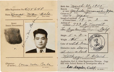 Los Angeles, 1942. 3pp., plus a partially-printed letter, signed, laid in. 16mo. Original pink paper...