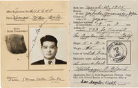 [ALIEN REGISTRATION CERTIFICATE OF IDENTIFICATION FOR A YOUNG JAPANESE ISSEI IN LOS ANGELES IN 1942, ACCOMPANIED BY AN INDEFINITE LEAVE LETTER FROM CAMP AMACHE]