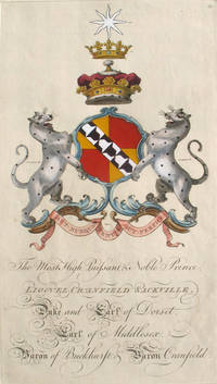Family Crest of The Most High, Puissant & Noble Prince, Lionel Cranfield Sackville, Duke and Earl of Dorset, Earl of Middlesex, Baron of Buckhurst & Baron Cranfield by  Joseph.   [Sackville Family]  Sir William and Edmondson - First edition - 1764 - from Antipodean Books, Maps & Prints (SKU: 21694)