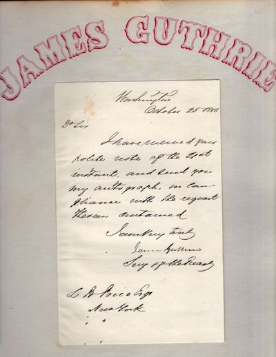 Washington DC: n.p., 1856. Paper. Very good. Paper. Sheet with the letter is approx. 12