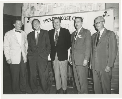 N.p.: N.p., 1955. Vintage photograph of Walt Disney with potential sponsors for