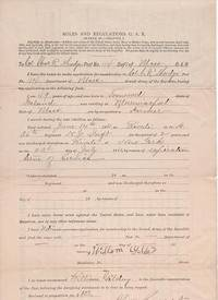 APPLICATION OF WILLIAM GILDAY, FORMER PRIVATE, CO. H, 36th REG'T NEW YORK INFANTRY,  FOR MEMBERSHIP IN THE GRAND ARMY OF THE REPUBLIC:; Printed form, accomplished by hand