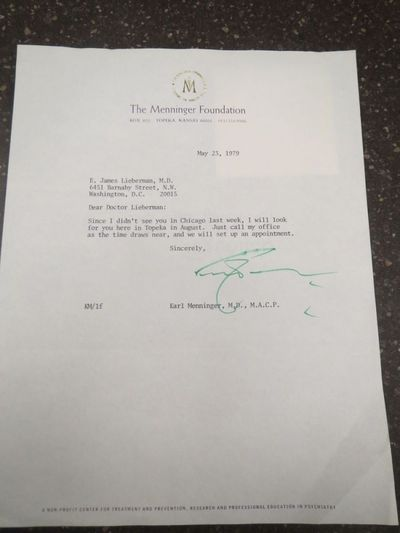 1979. One page typed letter, signed by Karl Menninger in what appears to be green marker. 8 1/2