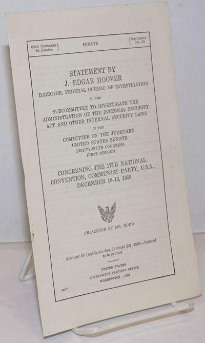 Washington DC: GPO, 1960. Pamphlet. 10p., wraps, very good condition.