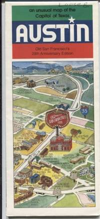 Austin, An Unusual Map Of The Capitol Of Texas Old San Francisco's  [Restaurant] 29th Anniversary Edition
