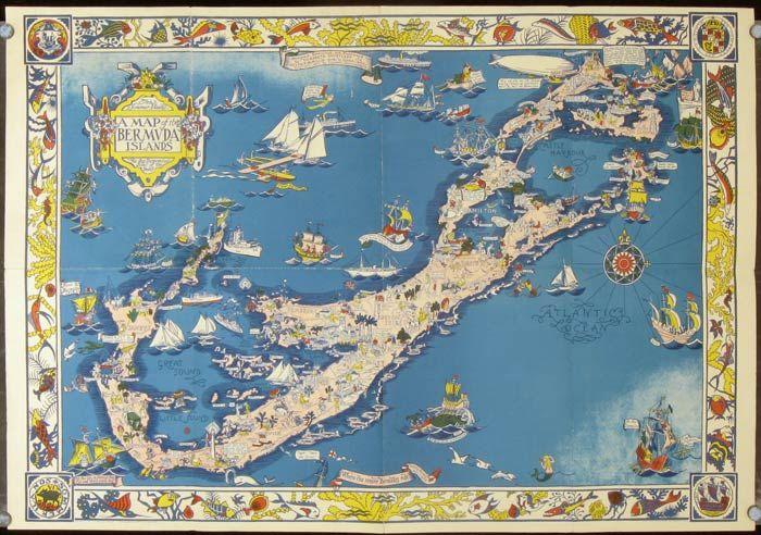 A Map of the Bermuda Islands. by Elizabeth (illus) BERMUDA) Shurtleff -  Copyright 1930. - from oldimprints.com and Biblio.com