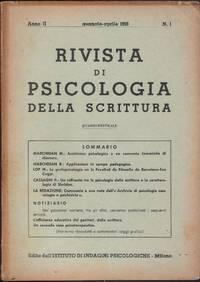 Rivista di psicologia della scrittura II No 1-3 1956