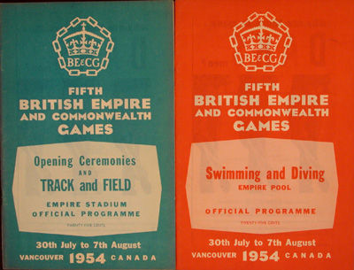 NP, n/d. Softcover. vg. 1) Swimming and Diving, Empire Pool. 28pp. Stapled orange wraps. 2) Opening ...
