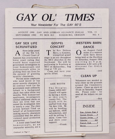 Roseburg, OR: GALA, Gay and Lesbian Alliance, 1990. 8p. newsletter, sheets folded to 7x8.5 inches, c...