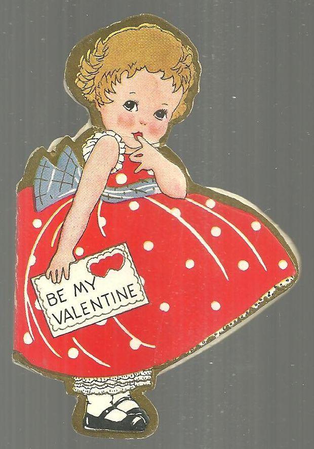 VINTAGE DIE CUT VALENTINE CARD OF A LITTLE GIRL BE MY VALENTINE, Valentine