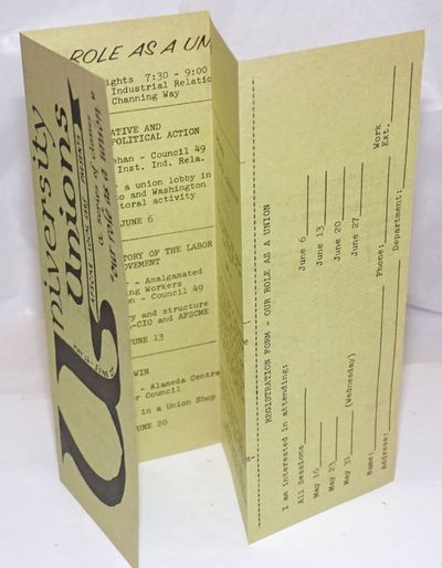 Berkeley: AFSCME Local 1695, 1967. Eight-panel brochure folded from a single sheet, introducing the ...