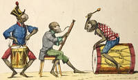 Engraved hand-colored broadsheet of musical monkeys