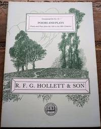 image of R F G HOLLETT & SON Occasional List 52 Poems And Plays from the 16th to the 20th Centuries