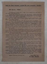 Announcement From Oskar Neumann, Head of the Wold Zionist Organization in Bratislava [Odkaz Dra Oskara Neumanna, predsedu Ustr. Zvazu Sionistickeho v Bratislave]