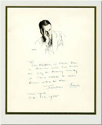 [Original Pen and Ink Portrait, Inscribed and Signed by the Subject]