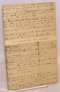 Walt Whitman; man poet philosopher, three lectures presented under auspices of the Gertrude Clarke Whittall Poetry and Literature Fund