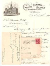 AUTOGRAPH LETTER SIGNED (ALS) ON LETTERHEAD OF THE COUNTY CLERK'S OFFICE, WAYNE COUNTY, MICHIGAN:  Detroit, Oct 5th, 1899 to a Dovesville, Virginia physician