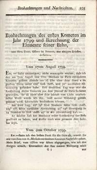 Beobachtungen des ersten Kometen im Jahr 1799 und Berechnung der Elemente seiner Bahn