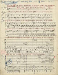 La femme barbe. Autograph musical manuscript excerpt from the incidental music to the comedy first performed in 1938