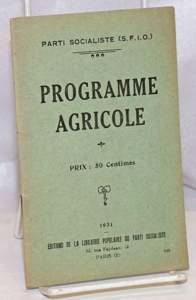 Paris: Librairie populaire du parti socialiste, 1931. 32p., stapled wraps, 4.5 x 7 inches, wraps wor...