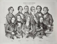 Finely-drawn lithographic group portrait of 10 major 19th century composers by the notable portrait artist Nicholas-Eustache Maurin (1799-1850)