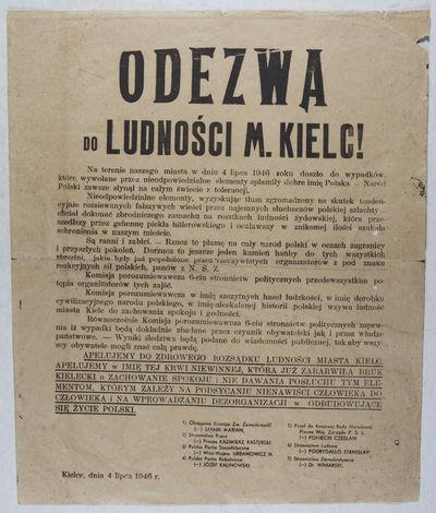Kielce: NP, 1946. First edition. Broadside. The sheet is a 15'' x 12 1/4