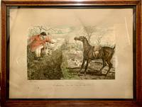 Hand Colored Proof Engraving Depicting Hunting Scene; Wood framed glass portrait with hooks suitable for hanging