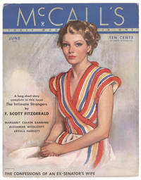 Advertising card for McCall's reproducing the front cover of the June 1935 issue, with The Intimate Strangers by F. Scott Fitzgerald advertised