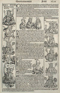 image of Liber chronicarum- Nuremberg Chronicle, an individual page from the Chronicle featuring lineage of Christ, lineage of Italian Kings, Hebrew Prophets and Israelite Kings, Plate No. XLIX