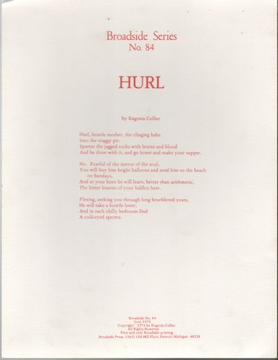 Detroit: Broadside Press, 1974. First Edition. Very good +. 4to. Broadside printed recto only. 10.87...