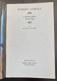 Robert Lowell: A Memorial Address and An Elegy