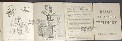 The Daily Graphic. Bessie Turner's Testimony. 11 cm x 9 closed, 11 cm x 108 cm open. A comic strip o...