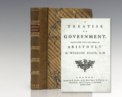 London: T. Payne, 1776. First edition in English of this important work on government by Aristotle. ...
